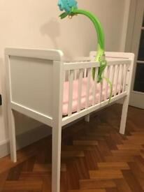 Mothercare crib with mattress and mattress protector for sale