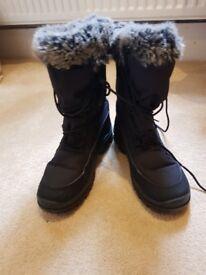 Grey Fur trim Snow boots- size 6