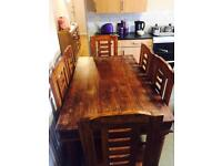 Real sheesham wood dining table with 6 chairs. Also known as Indian Rosewood, gorgeous colouring.