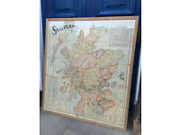 Map of Scotland - By Scarborough's Map . Size 102cm x 113cm . Older map , but in good condition.