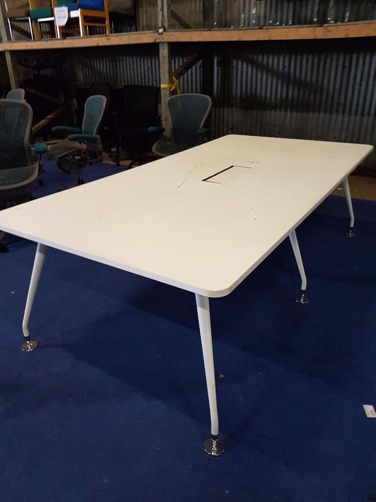 Large White Wood Effect Office Conference Table Office Meeting - Large white conference table