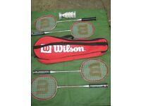 Wilson Tour 4 Racket Badminton Set - Four Rackets and Three Plastic Shuttles in Carry Bag