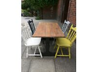 Rustic refectory dining table with 4 mix & match chairs .Shabby chic, urban eclectic. Local delivery