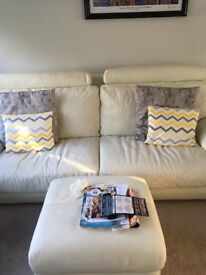 *FANTASTIC WINTER WHITE LEATHER SUITE FOR SALE FROM DFS - EXCELLENT CONDITION*