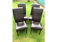 Brown leather high back chairs x4