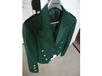 kilt jacket, Prince Charlie, Green Jacket and Waistcoat, made by Hector Russell (44R)