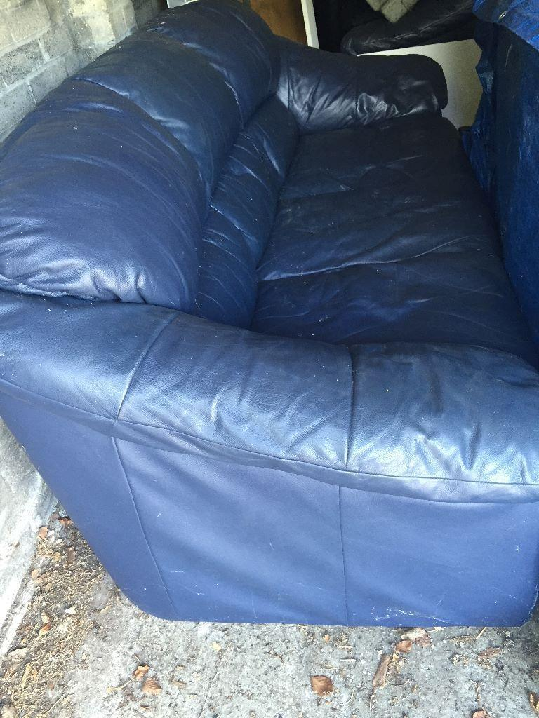 navy blue 3 seater leather sofa in sutton london gumtree