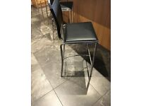 3 black bar stools