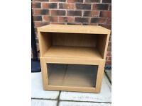 IKEA oak veneer cupboard unit, internal glass shelf, soft close door