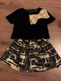 Black and Gold skirt and top, Age 4