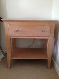 Two modern Beech Wood Bed / Side Tables