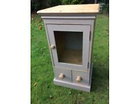 Farmhouse Shabby Chic Solid Pine Glass Front Cupboard