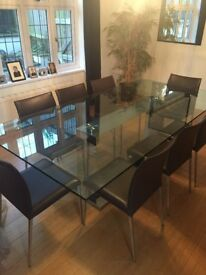Stunning Contemporary Glass/Steel Dining Table x 8 leather chairs
