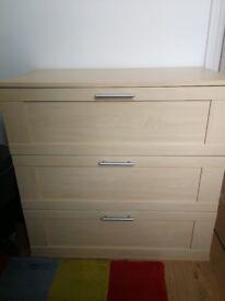 chest of drawers in beech veneer with metal handles