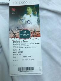 2 tickets for England v Samoa at Twickenham Sat 25 / 11/ 17