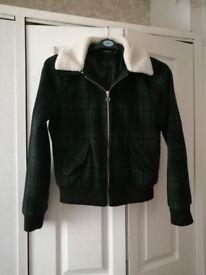 Women's Boohoo Tartan Bomber Jacket size 12