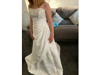Stunning Satin Wedding Dress with Wrap Wait and Pink Floral Detail. Size 6.