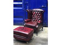 Immaculate 🤩 🔥 genuine leather Thomas Lloyd Queen Anne wingback high back chair & large footstool