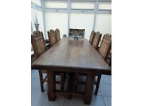 Antique refectory solid oak dining table with chairs
