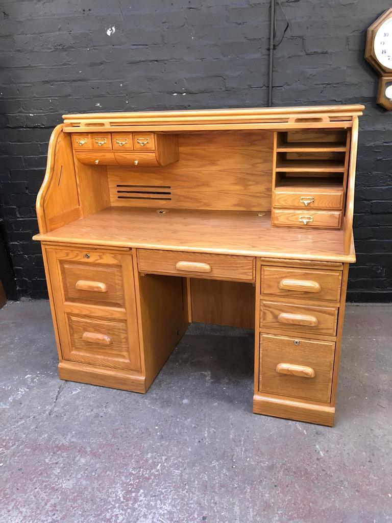 Fabulous Golden Oak Roll Top Desk