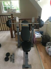 Powertec Strength Bench Press with barbell, dumbbells and weights