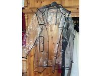 Clear raincoat with black binding