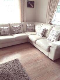 L Shaped Cream Leather Corner Suite