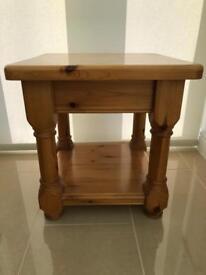 Solid pine varnished side table