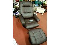 Chair & Stool - Quality Brown Leather Electric Recliner / Massage Chair & Stool