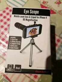 Eye Scope Iphone 4 zoom lens and tripod.