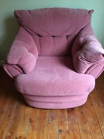 Pink sofa and chair. Good condition