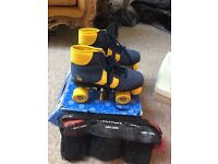 Retro style, brand new never worn outside, roller boots size 5. Comes with knee and elbow pads