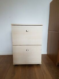 Light Beech Small 2 Drawer filing cabinet