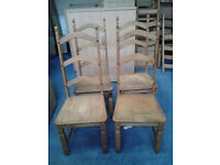 Set of 4 Pine Ladderback Dining Chairs