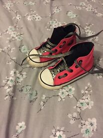 Pink converse high tops size 7