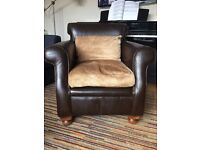 Dark brown leather armchair / occasional chair with chenille seat and lumbar cushion