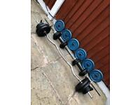 82kg CastIron Dumbbells Barbell Ez Bar Weights Set. •Can Deliver•
