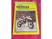 Clymer manual Honda XL/XR 500-650 cc