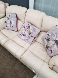 3 Seater Sofa, 1 Chair and 1 Recliner in Cream Leather