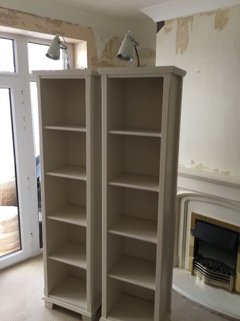 Pair of IKEA bookcases with lighting. Shabby chic. Good condition from smoke & pet free home.