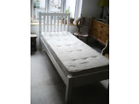 John Lewis White Single Bed Frame and Matress 840mm wide - REDUCED