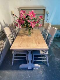 Antique Oak Extending 6 foot Refectory Kitchen Dining Table And Chairs