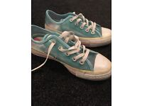 Blue plastic all star converse size 4 womens