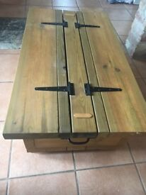 Stunning hand made pine door hinge storage coffee table RRP£175