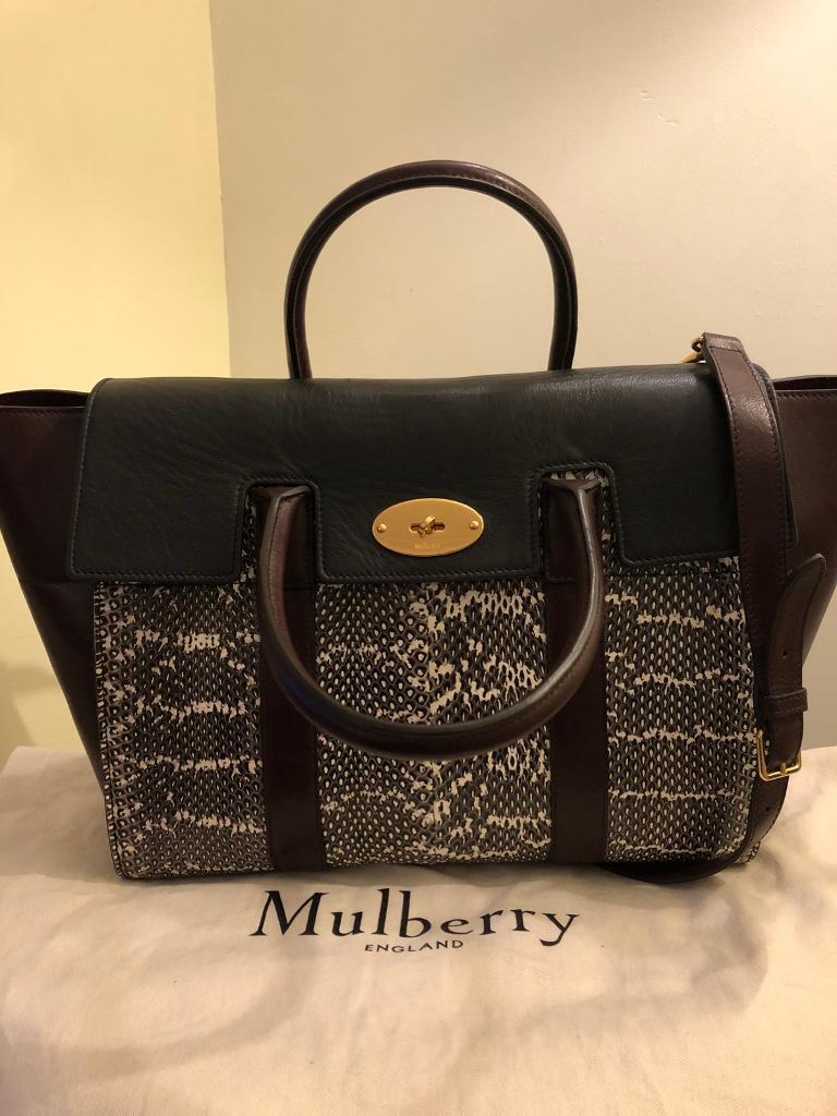 Mulberry Bayswater Handbag Snakeskin In Oxblood Black