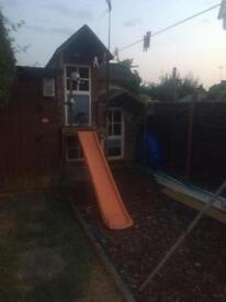 Children's play house, toys, slide, swing