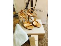 JIMMY CHOO 'Lance' Nude leather sandals Heels Strappy Size 5/38
