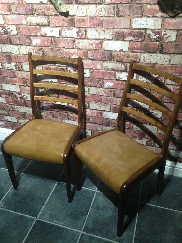 2 solid wood vintage chairs