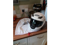 motorcycle helmet flip front in white Shox size small(55-56cm).
