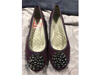 Purple Real suede Clark's ballet shoes Never worn size 4